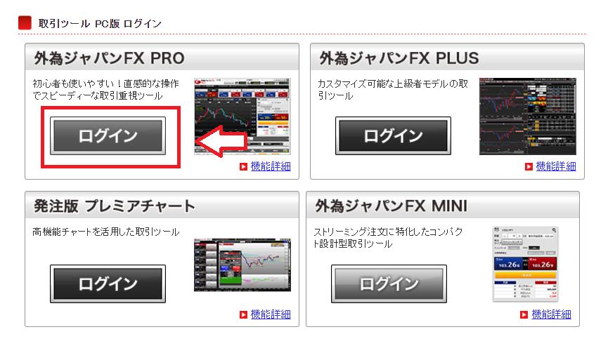 外為ジャパンFX PROログイン