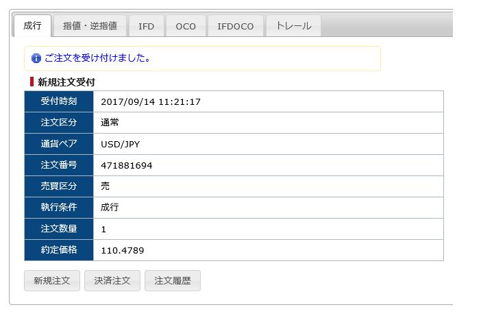SBI(FXトレード)の注文確認画面