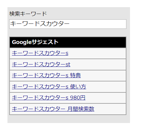 関連キーワード取得ツールを使った「キーワードスカウター」の検索結果