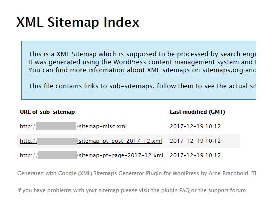 「Google XML Sitemaps」でのサイトマップ作成完了画面